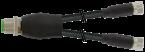 Y-Distributor M12 male / M8 female 0° A-cod.
