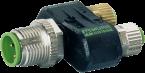 T-Stück SlimLine M12-St 4pol / 2x M8-Bu 3pol