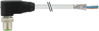 M12 male 90° shielded with cable